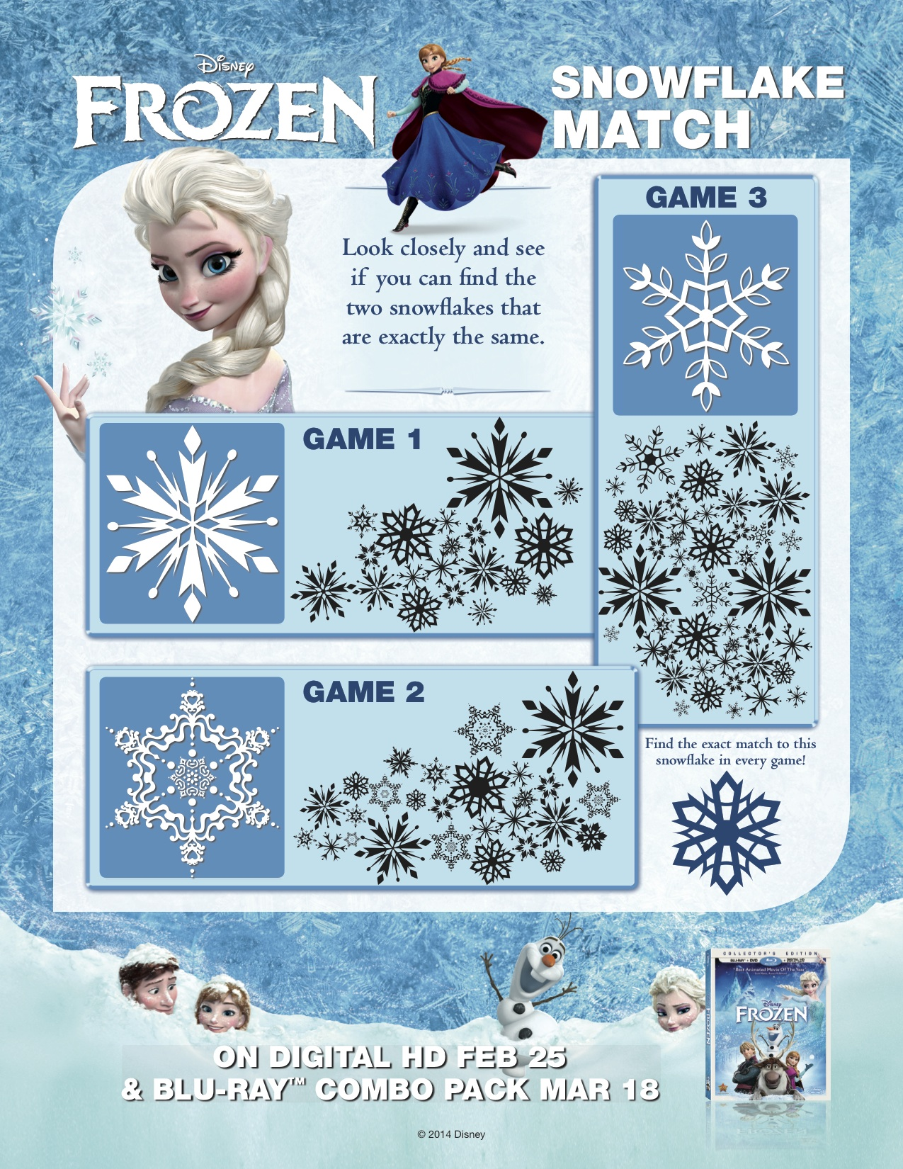 Frozen Frozen - Snowflake Match game