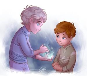 Genderbent!Young Elsa and Anna