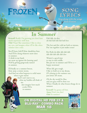 ফ্রোজেন In Summer lyric sheet.