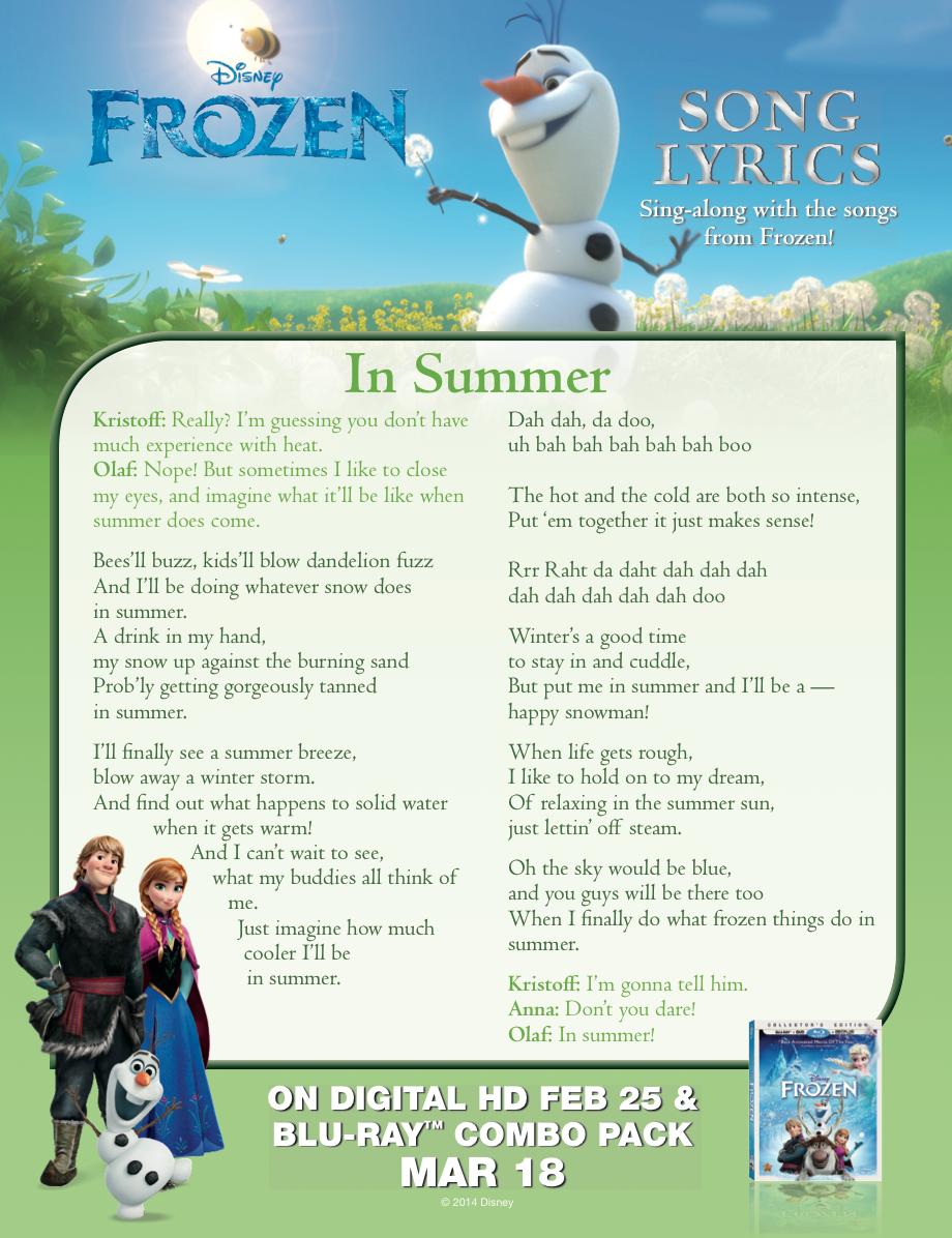 Frozen In Summer Lyric Sheet