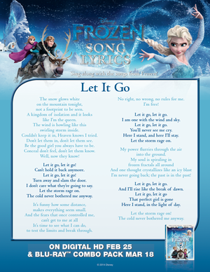 ফ্রোজেন Let it go lyric sheet