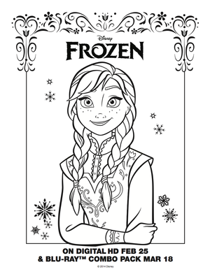 La Reine des Neiges Anna coloring sheet
