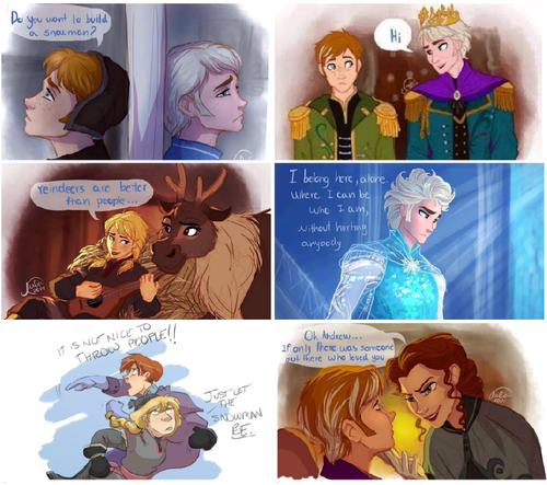 Frozen wallpaper possibly with anime titled Genderbend version lol