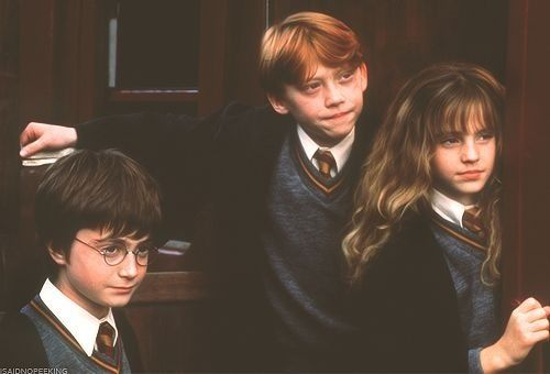 harry potter wallpaper containing a business suit, a suit, and a three piece suit entitled Harry Potter, Ron Weasley and Hermione Granger