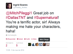 YAY! Mitch Pileggi Favorited and Retweeted My Tweet!!!
