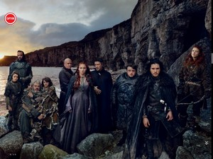 Jon Snow, Samwell, Ygritte, Sansa, Varys, Littlefinger, Brana nd Hodor, Arya and The Hound