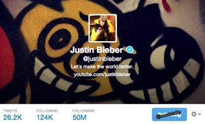 justin bieber 50 million followers