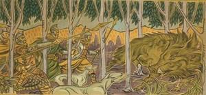 Folca hunting the 公猪, 野猪 of Everholt 由 Jeremy Bennett