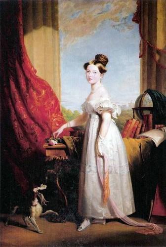 rois et reines fond d'écran probably containing a kirtle, rapporté and a polonaise called Princess Victoria with her épagneul Dash, par Sir George Hayter, 1833