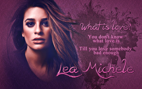 Lea Michele karatasi la kupamba ukuta with a sign entitled Lea Michele - What is love?