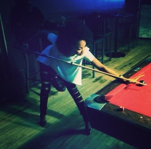 Leigh - Anne today playing pool
