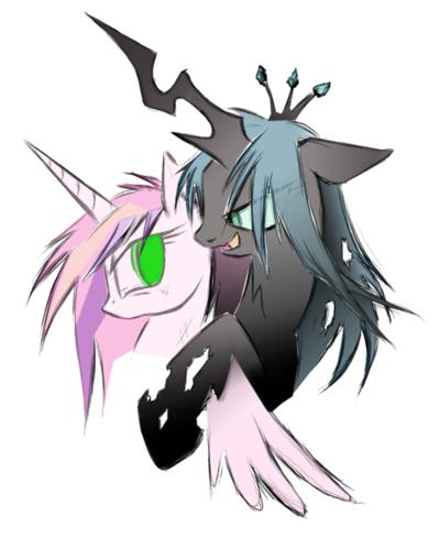 MLP FIM Queen Chrysalis fond d'écran with animé entitled Queen Chrystalis and Cadence