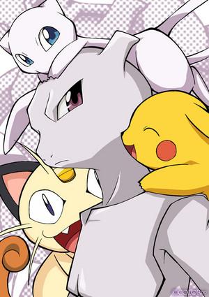 Mew, Mewtwo, Pikachu, Meowth