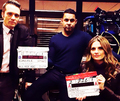 Stana,Jon and Seamus-BTS season 6 - nathan-fillion-and-stana-katic photo
