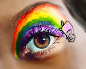 Nyan cat eye makeup
