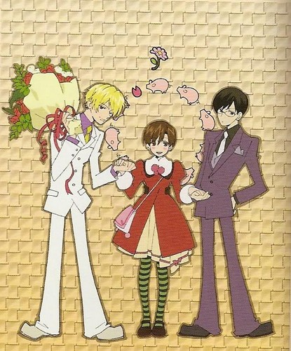 ouran high school host club wallpaper possibly with anime entitled Tamaki, Haruhi and Kyoya