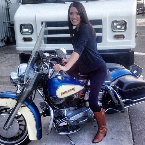 Paget Brewster wallpaper possibly with a motorcycle cop and a motociclista titled Paget Brewster