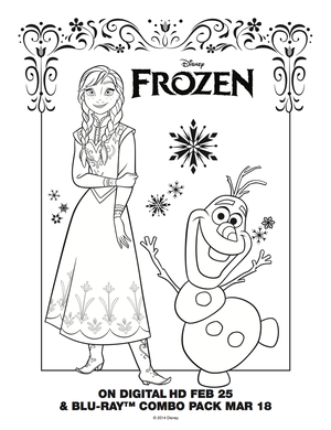 アナと雪の女王 Anna and Olaf coloring sheet