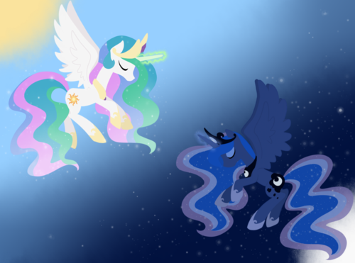 Princess Luna karatasi la kupamba ukuta entitled Princess Luna and Celestia