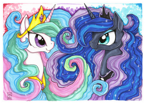 Princess Luna پیپر وال entitled Kattvalk Drawings-Luna and Celestia