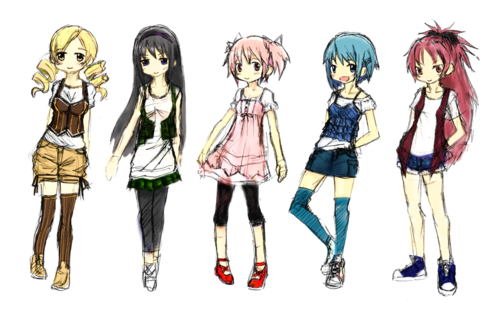 Puella Magi Madoka Magica hình nền titled Mami Homura Madoka Sayaka Kyoko