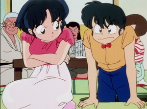 ranma demands akane give him another rematch in arm wrestling
