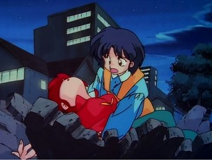 A worried Akane rushes to aid Ranma-chan