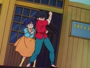 Ranma protecting Akane