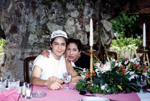 Selena Quintanilla-Pérez wallpaper possibly containing a bouquet and a dinner table entitled  Selena & Chris ♥