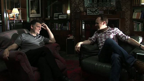 Sherlock on BBC One wallpaper possibly containing a family room, a drawing room, and a living room titled Steven Moffat and Mark Gatiss
