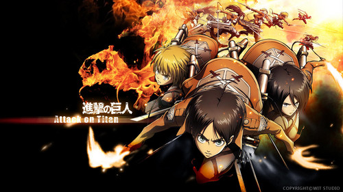 Shingeki no Kyojin (Attack on Titan) Hintergrund possibly containing a feuer and a sign titled The main characters