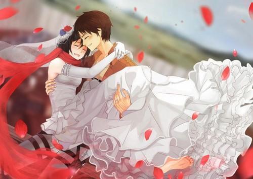 शिंगेकी नो क्योजीन (अटैक आन टाइटन) वॉलपेपर with a bouquet and a japanese खुबानी called Eren and Mikasa