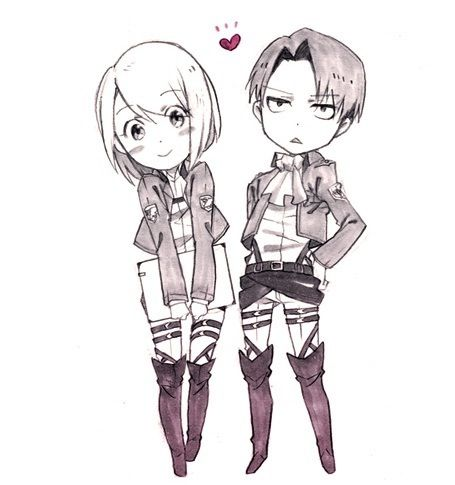 Shingeki no Kyojin (Attack on Titan) Hintergrund with Anime titled Levi and Petra Chibi
