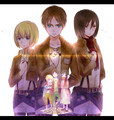 Armin, Eren and Mikasa