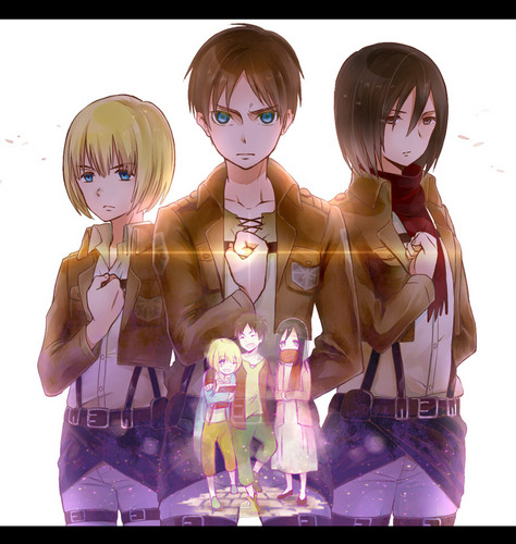 Shingeki no Kyojin (Attack on titan) achtergrond called Armin, Eren and Mikasa