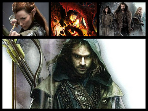 The Hobbit پیپر وال titled Kili, Fili, Thorin, Tauriel, and Smaug