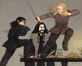 kili and fili fight - the-hobbit fan art