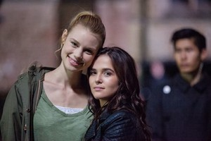 Zoey and Lucy on Set