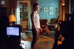 the vampire diaries,season 5,5x14,bts photos,tyler,caroline