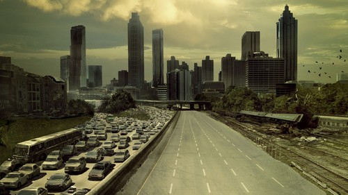The Walking Dead wallpaper containing a business district and a skyscraper titled Static