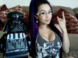 Linda Le at home with Darth Vader Clock