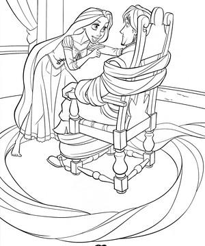 Walt ডিজনি Coloring Pages - Princess Rapunzel & Flynn Rider/Eugene Fitzherbert