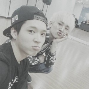 Woohyun and Key practice room