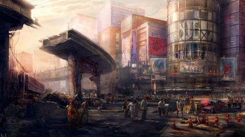Zombies wallpaper with a street and a business district entitled ✖ Zombies ✖