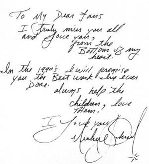 A Personal Letter Written sejak Michael Jackson