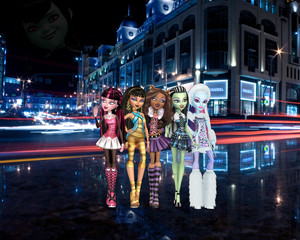 Abbey Bominable, Draculaura, Clawdeen Wolf, Cleo De Nile, and Frankie Stein