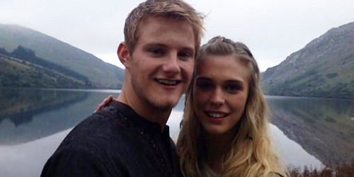 Vikings (TV Series) karatasi la kupamba ukuta probably containing a lakeside, a towpath, and a glory hole titled Alexander Ludwig and Gaia Weiss on Set