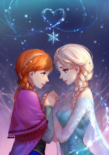 Princess Anna kertas dinding called Anna and Elsa