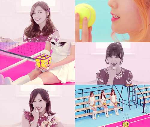 Koreanische Girlgroup A rosa Hintergrund probably containing a portrait titled Apink 'Mr.Chu' M/V