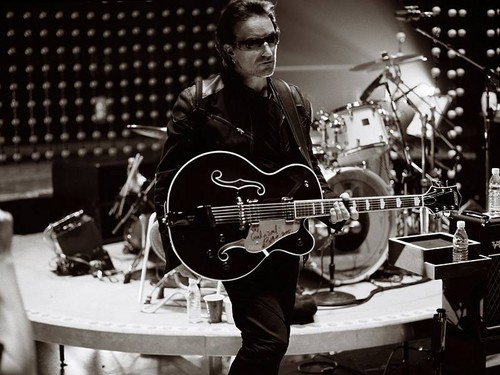 U2 Wallpaper Titled Bono With Gretsch Country Club Guitar